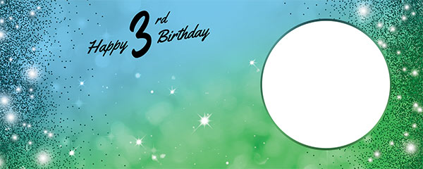 Happy 3rd Birthday Sparkles Blue Green Design Large Personalised Banner – 10ft x 4ft