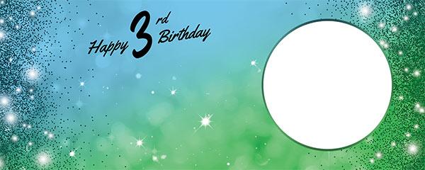 Happy 3rd Birthday Sparkles Blue Green Design Medium Personalised Banner – 6ft x 2.25ft