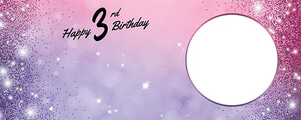 Happy 3rd Birthday Sparkles Pink Purple Design Medium Personalised Banner – 6ft x 2.25ft
