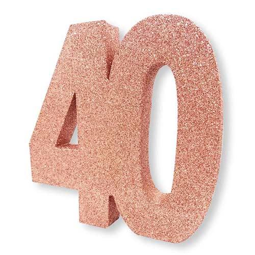 Number 40 Rose Gold Glitter Table Decoration 20cm