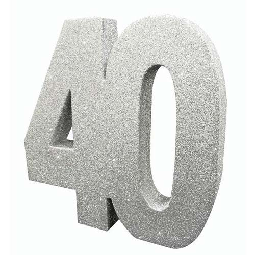 Number 40 Silver Glitter Table Decoration 20cm