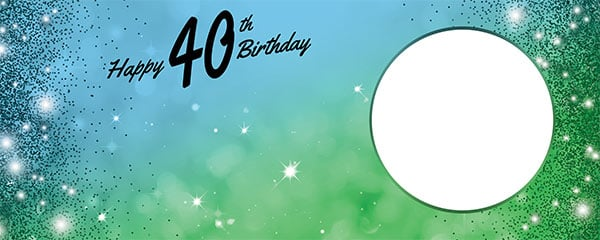 Happy 40th Birthday Sparkles Blue Green Design Large Personalised Banner – 10ft x 4ft