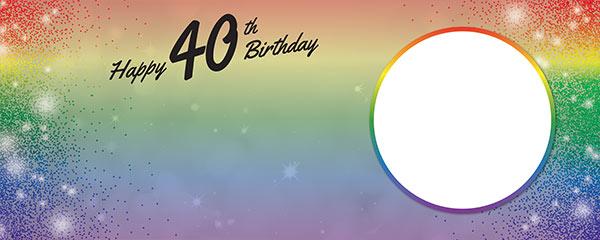 Happy 40th Birthday Rainbow Sparkles Design Medium Personalised Banner – 6ft x 2.25ft