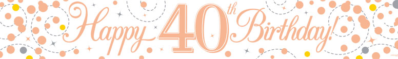 Happy 40th Birthday Rose Gold Holographic Foil Banner 2.7m