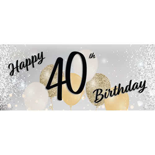 Happy 40th Birthday Silver PVC Party Sign Decoration 60cm x 25cm Product Image