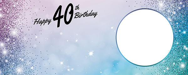 Happy 40th Birthday Sparkles Blue Pink Design Medium Personalised Banner – 6ft x 2.25ft