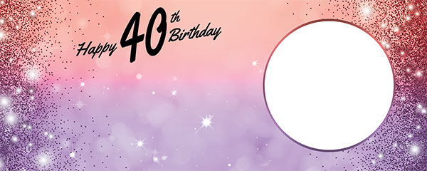 Happy 40th Birthday Sparkles Red Purple Design Medium Personalised Banner – 6ft x 2.25ft