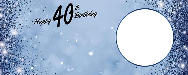 Happy 40th Birthday Sparkles Royal Blue Design Medium Personalised Banner – 6ft x 2.25ft