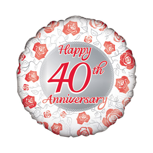 Happy 40th Ruby Anniversary Round Foil Helium Balloon 46cm / 18 in Product Image