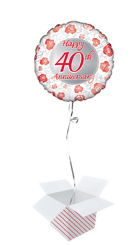 Happy 40th Ruby Anniversary Round Foil Helium Balloon - Inflated Balloon in a Box