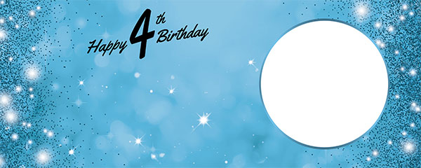 Happy 4th Birthday Sparkles Baby Blue Design Medium Personalised Banner – 6ft x 2.25ft