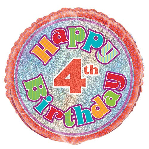 Happy 4th Birthday Holographic Round Foil Helium Balloon 46cm / 18Inch