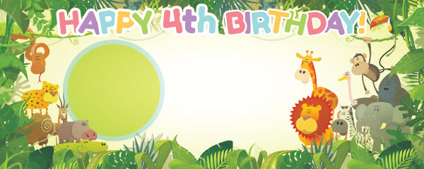 Happy 4th Birthday Jungle Design Medium Personalised Banner - 6ft x 2.25ft