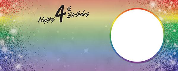 Happy 4th Birthday Rainbow Sparkles Design Medium Personalised Banner – 6ft x 2.25ft