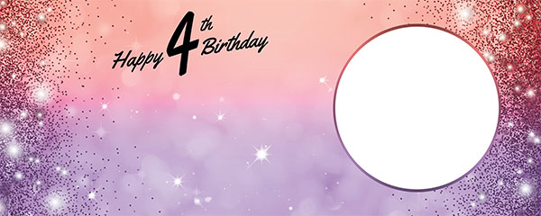 Happy 4th Birthday Sparkles Red Purple Design Medium Personalised Banner – 6ft x 2.25ft