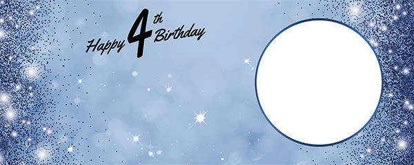 Happy 4th Birthday Sparkles Royal Blue Design Large Personalised Banner – 10ft x 4ft