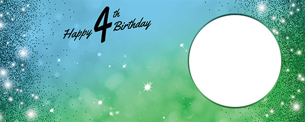 Happy 4th Birthday Sparkles Blue Green Design Large Personalised Banner – 10ft x 4ft