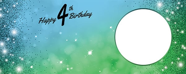 Happy 4th Birthday Sparkles Blue Green Design Small Personalised Banner – 4ft x 2ft
