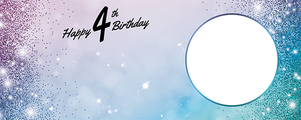 Happy 4th Birthday Sparkles Blue Pink Design Medium Personalised Banner – 6ft x 2.25ft