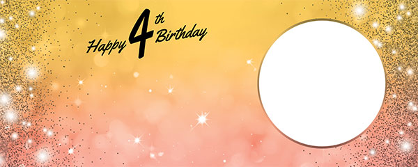 Happy 4th Birthday Sparkles Gold Pink Design Medium Personalised Banner – 6ft x 2.25ft