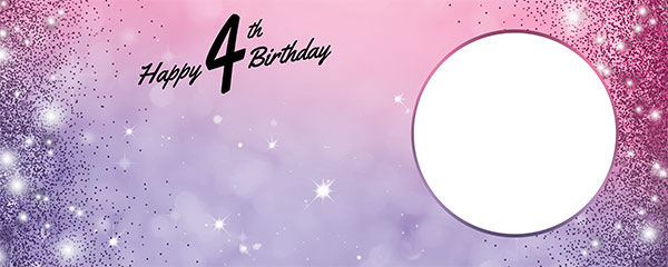 Happy 4th Birthday Sparkles Pink Purple Design Small Personalised Banner – 4ft x 2ft