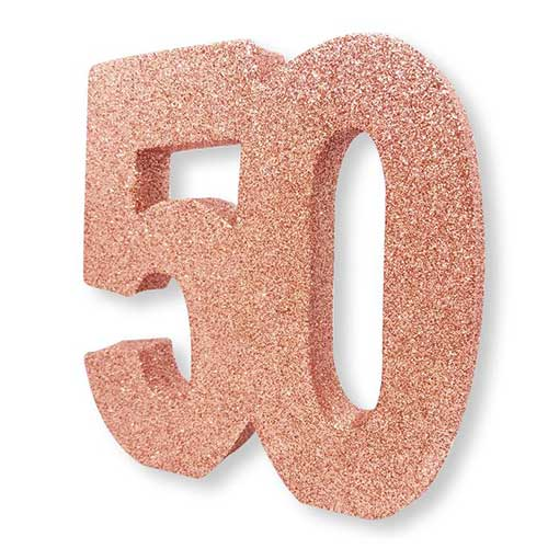 Number 50 Rose Gold Glitter Table Decoration 20cm Product Image