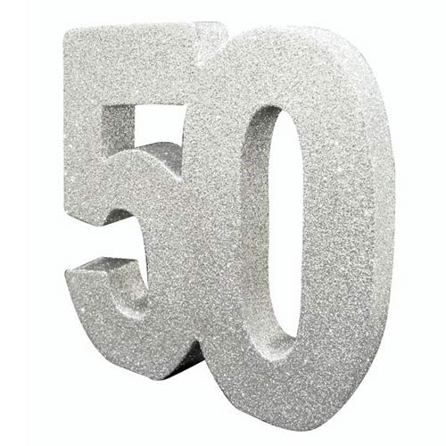 Number 50 Silver Glitter Table Decoration 20cm