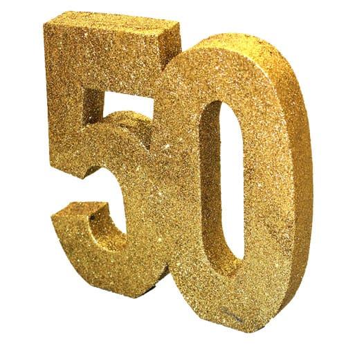 Happy 50 Birthday Gold Glitter Table Decoration