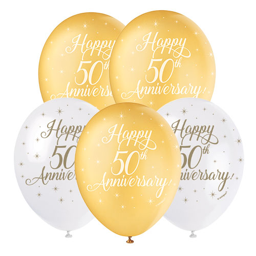 Happy 50th Anniversary Biodegradable Latex Balloons 30cm / 12 in - Pack of 5 Product Image