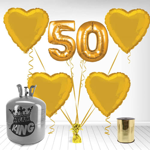 Happy 50th Anniversary Supershape Foil Balloon and Helium Gas Package Product Image