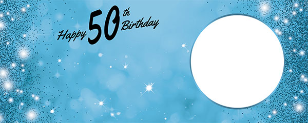 Happy 50th Birthday Sparkles Baby Blue Design Medium Personalised Banner – 6ft x 2.25ft