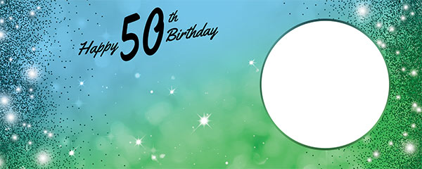 Happy 50th Birthday Sparkles Blue Green Design Small Personalised Banner – 4ft x 2ft