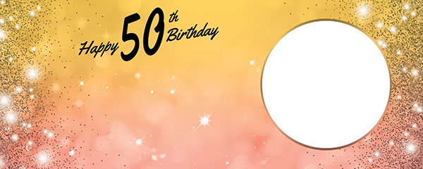 Happy 50th Birthday Sparkles Gold Pink Design Medium Personalised Banner – 6ft x 2.25ft