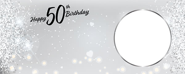Happy 50th Birthday Milestone Light Design Medium Personalised Banner - 6ft x 2.25ft
