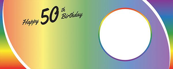 Happy 50th Birthday Rainbow Ombre Design Medium Personalised Banner – 6ft x 2.25ft