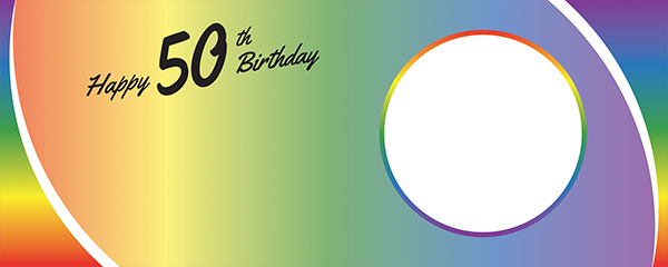 Happy 50th Birthday Rainbow Ombre Design Small Personalised Banner – 4ft x 2ft