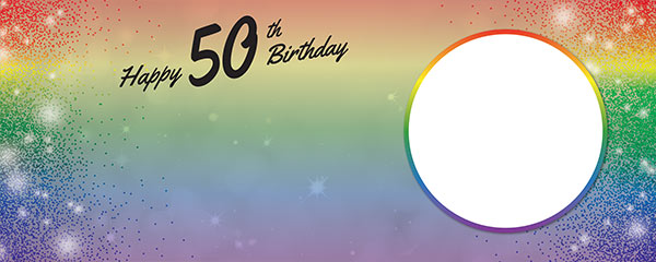 Happy 50th Birthday Rainbow Sparkles Design Medium Personalised Banner – 6ft x 2.25ft