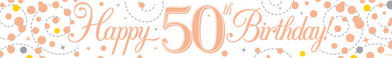 Happy 50th Birthday Rose Gold Holographic Foil Banner 2.7m