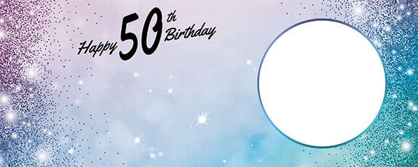 Happy 50th Birthday Sparkles Blue Pink Design Small Personalised Banner – 4ft x 2ft