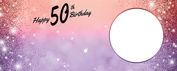 Happy 50th Birthday Sparkles Red Purple Design Small Personalised Banner – 4ft x 2ft