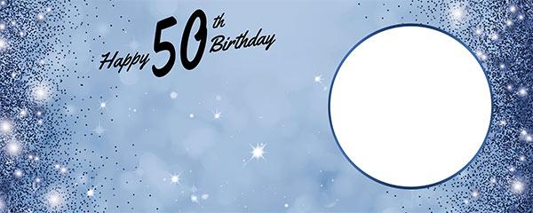 Happy 50th Birthday Sparkles Royal Blue Design Medium Personalised Banner – 6ft x 2.25ft