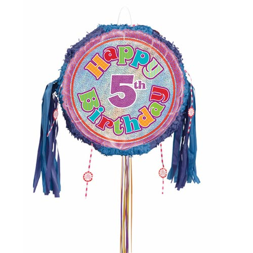 Happy 5th Birthday Holographic Pull String Pinata Product Image