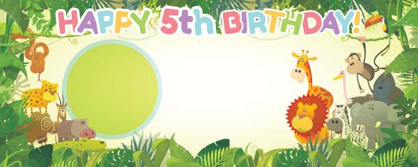 Happy 5th Birthday Jungle Design Medium Personalised Banner - 6ft x 2.25ft
