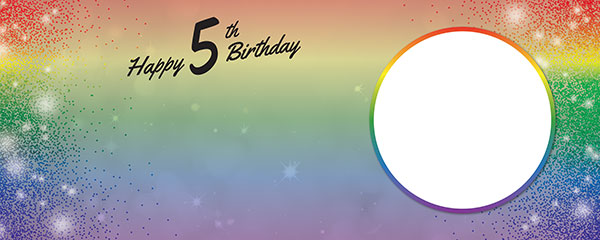 Happy 5th Birthday Rainbow Sparkles Design Small Personalised Banner – 4ft x 2ft