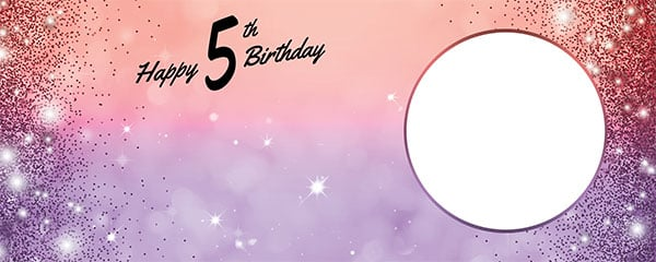 Happy 5th Birthday Sparkles Red Purple Design Small Personalised Banner – 4ft x 2ft