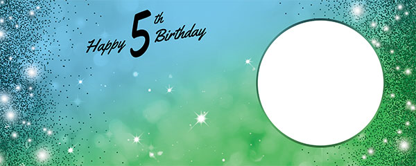 Happy 5th Birthday Sparkles Blue Green Design Medium Personalised Banner – 6ft x 2.25ft