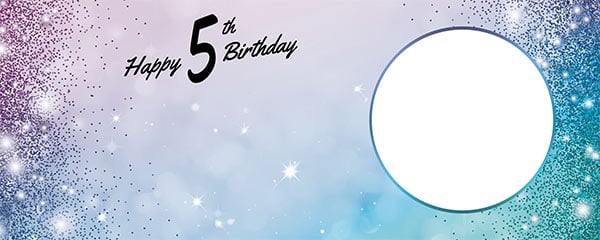 Happy 5th Birthday Sparkles Blue Pink Design Small Personalised Banner – 4ft x 2ft