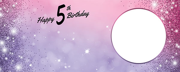 Happy 5th Birthday Sparkles Pink Purple Design Medium Personalised Banner – 6ft x 2.25ft