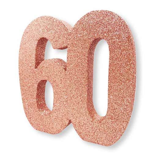 Number 60 Rose Gold Glitter Table Decoration 20cm Product Image
