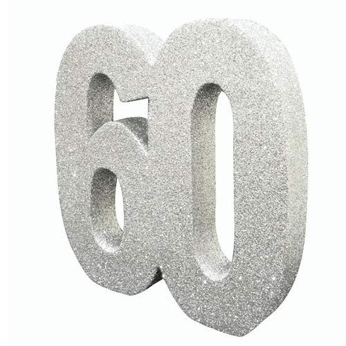 Number 60 Silver Glitter Table Decoration 20cm